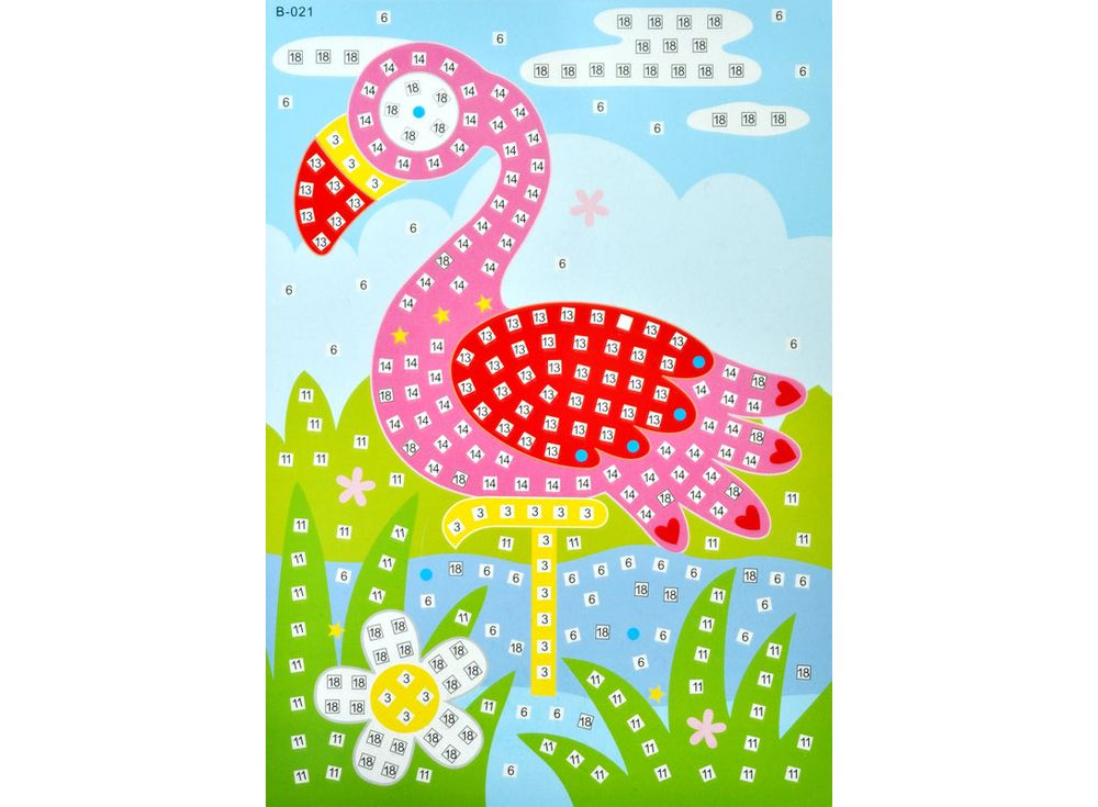 Мозаика из стикеров «Фламинго»Мозаика из стикеров<br><br><br>Артикул: B021<br>Размер: 16,5x23,5 см<br>Материал: Картон<br>Возраст: от 3 лет