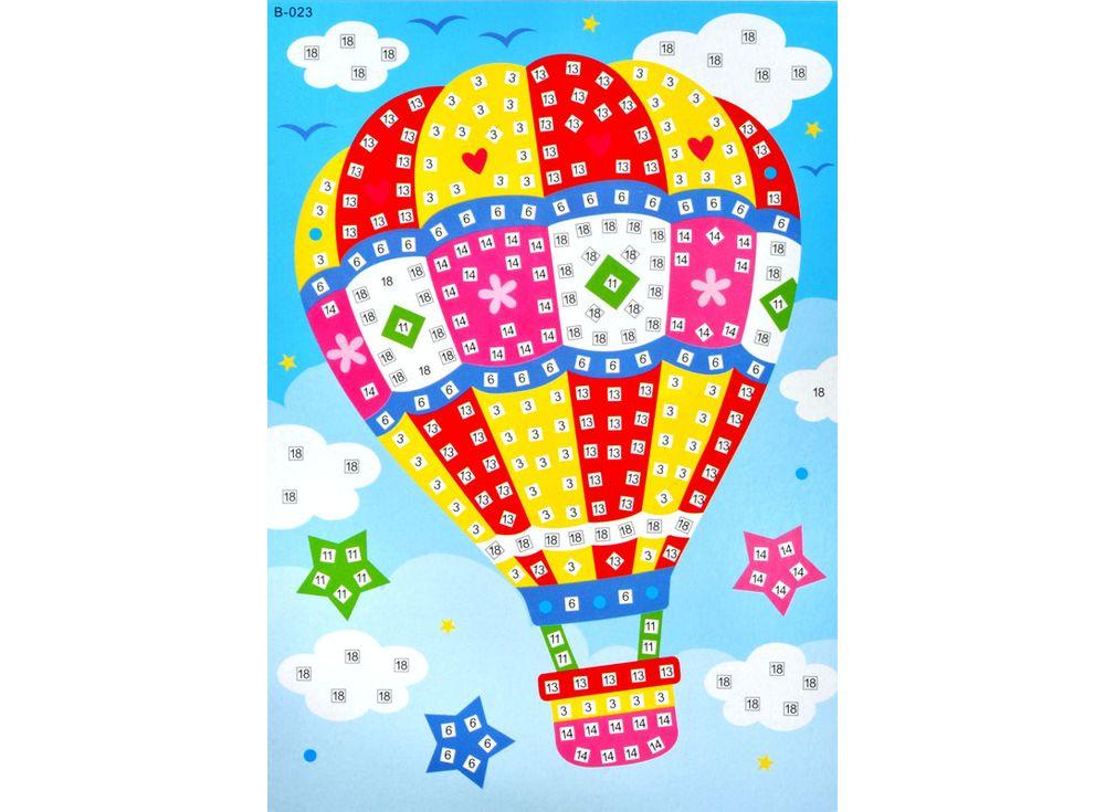 Мозаика из стикеров «Воздушный шар»Мозаика из стикеров<br><br><br>Артикул: B023<br>Размер: 16,5x23,5 см<br>Материал: Картон<br>Возраст: от 3 лет