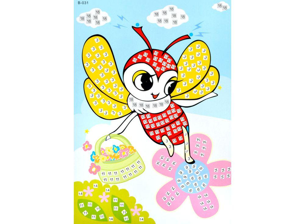 Мозаика из стикеров «Пчелка»Мозаика из стикеров<br><br><br>Артикул: B031<br>Размер: 16,5x23,5 см<br>Материал: Картон<br>Возраст: от 3 лет