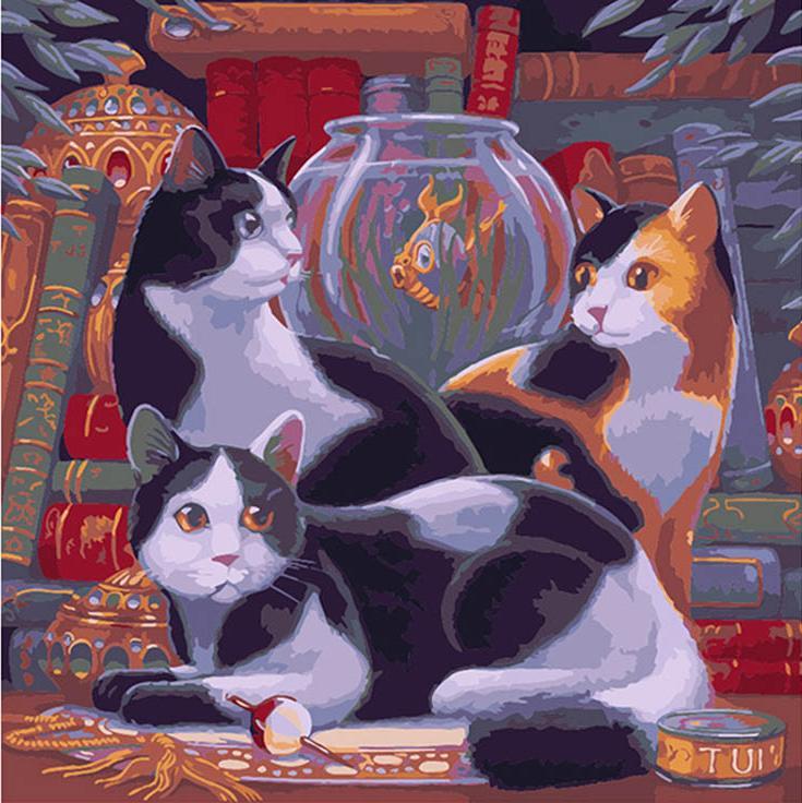 Картина по номерам «Три умные кошки» Рэндала СпанглераРаскраски по номерам Color Kit<br><br><br>Артикул: CD013<br>Основа: Холст<br>Сложность: средние<br>Размер: 30x30 см<br>Количество цветов: 25<br>Техника рисования: Без смешивания красок
