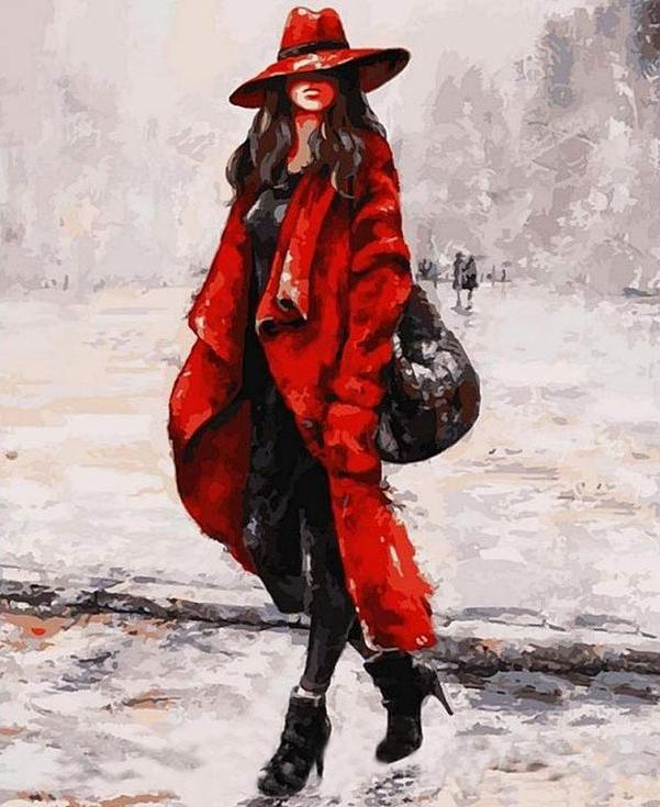 Стразы «Девушка в красном пальто» Эмерико ТотаАлмазная вышивка Color Kit (Колор Кит)<br><br><br>Артикул: CK024-new<br>Основа: Холст на подрамнике<br>Сложность: сложные<br>Размер: 40x50 см<br>Выкладка: Частичная<br>Количество цветов: 15-25<br>Тип страз: Круглые прозрачные (стеклянные)