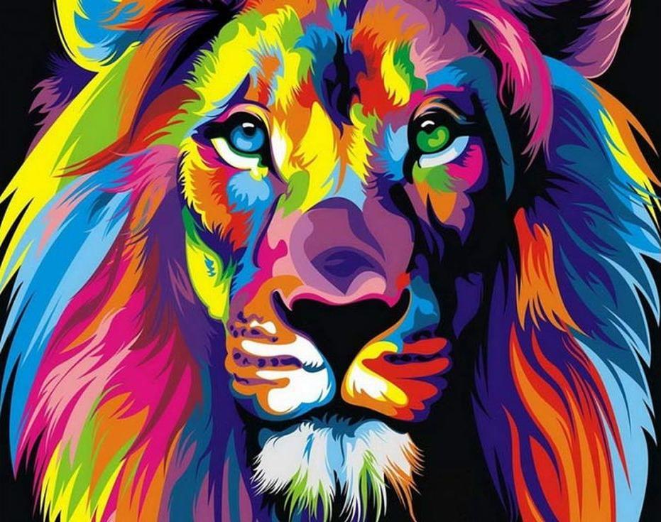 Стразы «Радужный лев» Ваю РомдониАлмазная вышивка Color Kit (Колор Кит)<br><br><br>Артикул: CKC012<br>Основа: Холст на подрамнике<br>Сложность: сложные<br>Размер: 40x50 см<br>Выкладка: Полная<br>Количество цветов: 15-25<br>Тип страз: Круглые прозрачные (стеклянные)