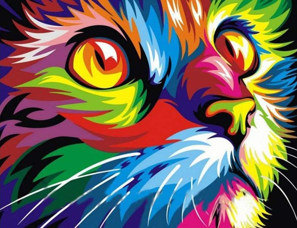 Стразы «Радужный кот» Ваю РомдониАлмазная вышивка Color Kit (Колор Кит)<br><br><br>Артикул: CKC018<br>Основа: Холст на подрамнике<br>Сложность: сложные<br>Размер: 40x50 см<br>Выкладка: Полная<br>Количество цветов: 15-25<br>Тип страз: Круглые прозрачные (стеклянные)
