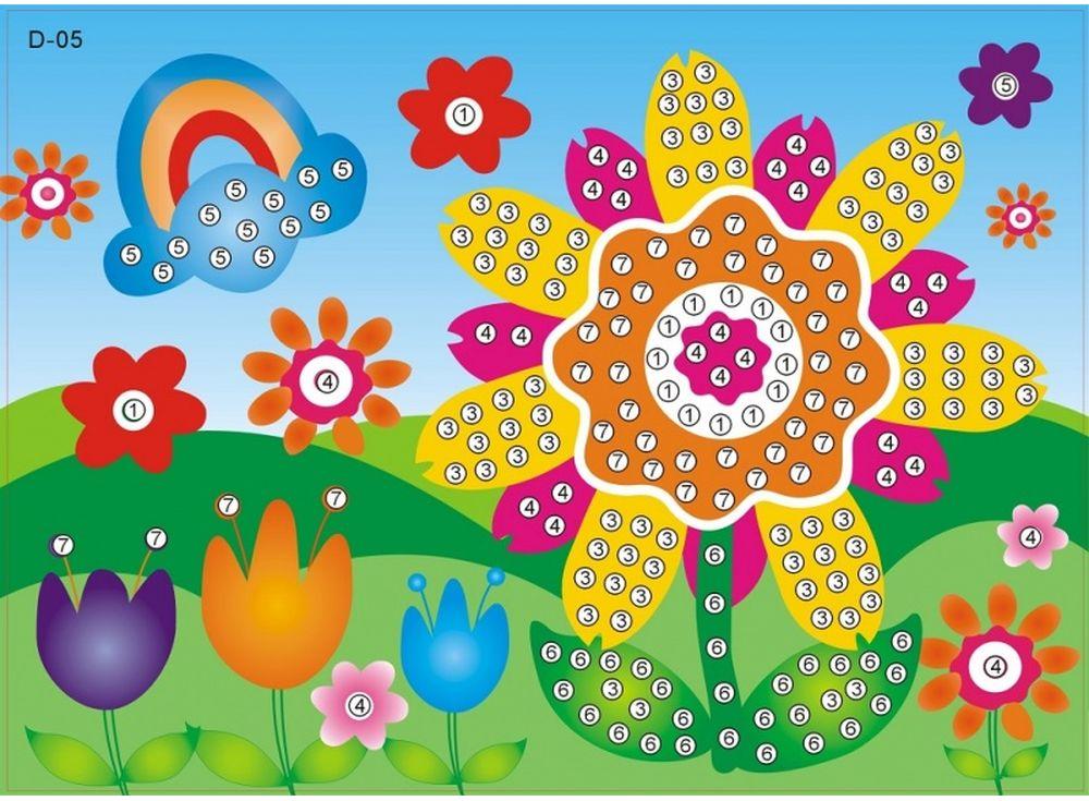 Мозаика из стикеров «Яркий цветочек»Мозаика из стикеров<br><br><br>Артикул: D005<br>Размер: 16,5x23,5 см<br>Материал: Картон<br>Возраст: от 3 лет
