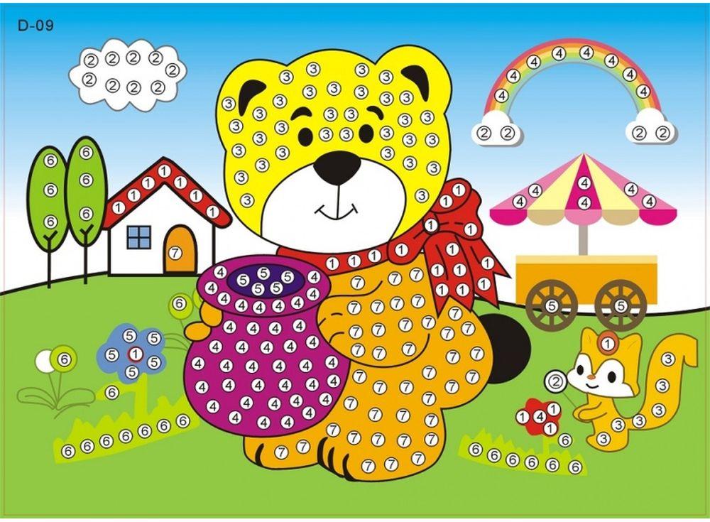 Мозаика из стикеров «Мишка»Мозаика из стикеров<br><br><br>Артикул: D009<br>Размер: 16,5x23,5 см<br>Материал: Картон<br>Возраст: от 3 лет