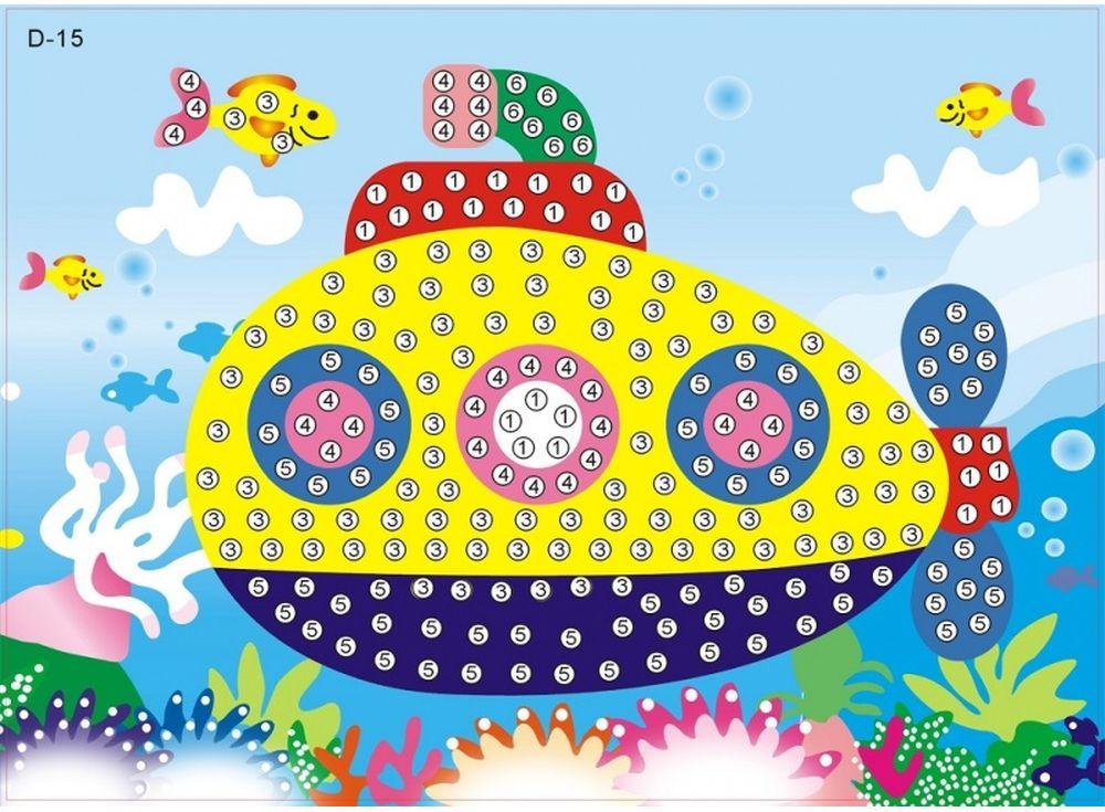 Мозаика из стикеров «Подводная лодка»Мозаика из стикеров<br><br><br>Артикул: D015<br>Размер: 16,5x23,5 см<br>Материал: Картон<br>Возраст: от 3 лет