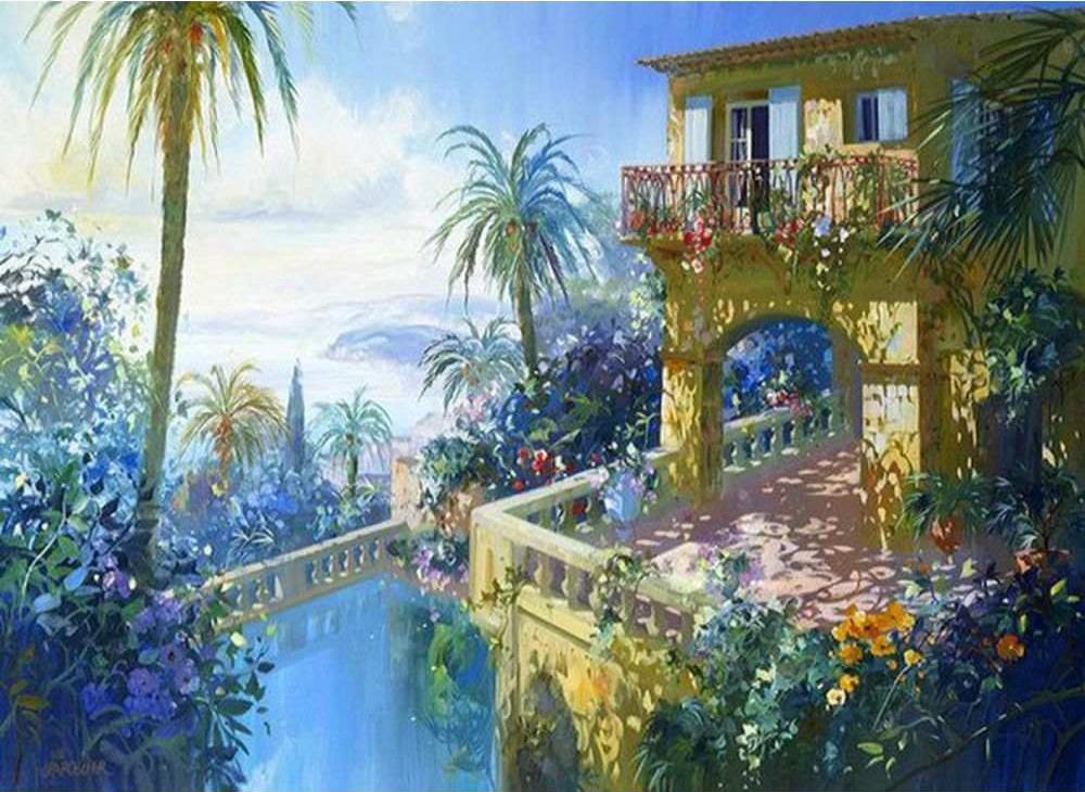 «Солнечный балкон» Лорана ПарсельеЦветной (Standart)<br><br><br>Артикул: GX7791_Z<br>Основа: Холст<br>Сложность: сложные<br>Размер: 40x50 см<br>Количество цветов: 25<br>Техника рисования: Без смешивания красок
