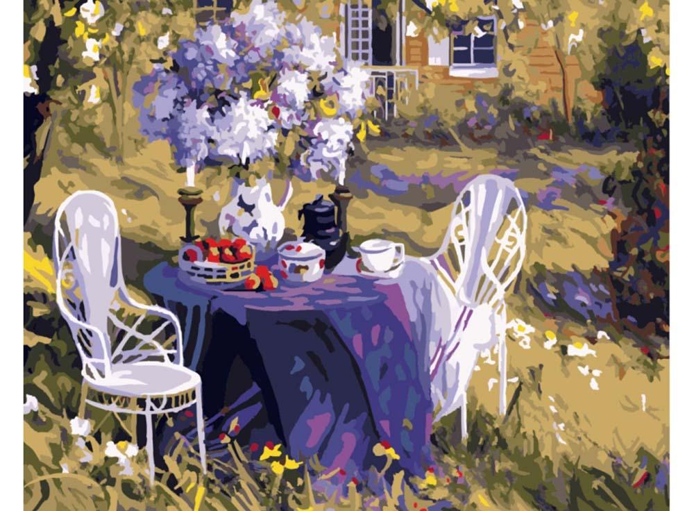 Картина по номерам «Лиловое чаепитие» Тима БенджаминаРаскраски по номерам Paintboy (Original)<br><br><br>Артикул: GX7800_R<br>Основа: Холст<br>Сложность: средние<br>Размер: 40x50 см<br>Количество цветов: 27<br>Техника рисования: Без смешивания красок