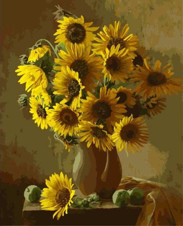 Картина по номерам «Подсолнухи в глиняной вазе»Paintboy (Premium)<br><br><br>Артикул: GX7808<br>Основа: Холст<br>Сложность: средние<br>Размер: 40x50 см<br>Количество цветов: 26<br>Техника рисования: Без смешивания красок