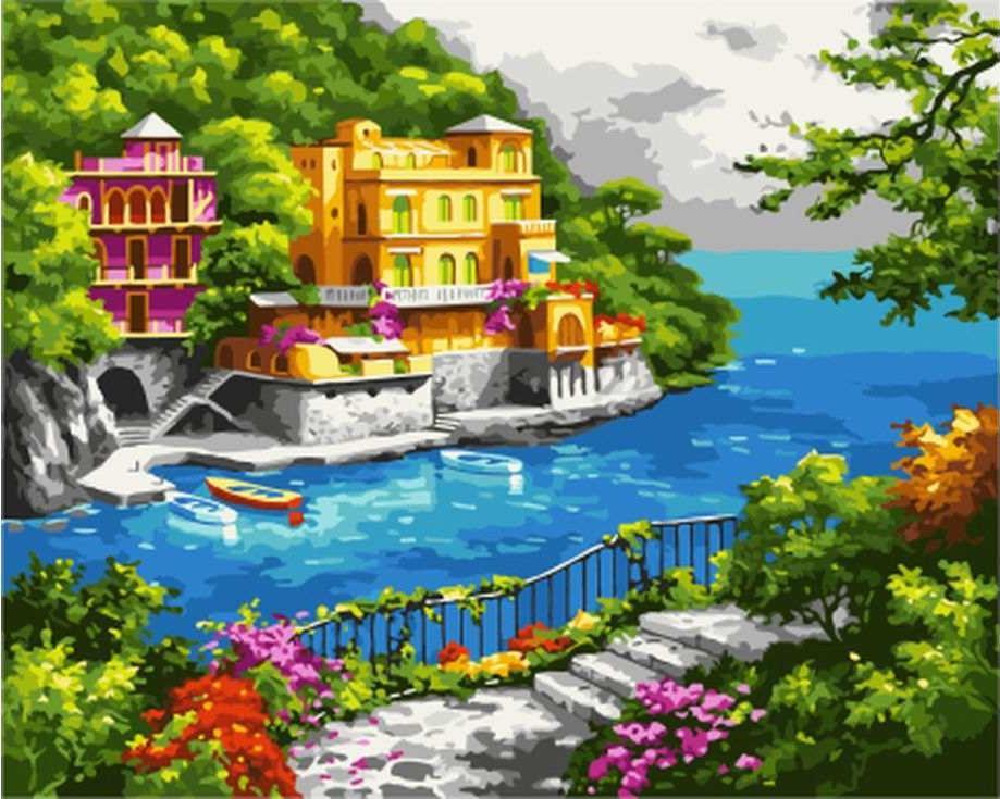 «Райский остров» Сен КимаЦветной (Standart)<br><br><br>Артикул: GX7821_Z<br>Основа: Холст<br>Сложность: сложные<br>Размер: 40x50 см<br>Количество цветов: 25<br>Техника рисования: Без смешивания красок