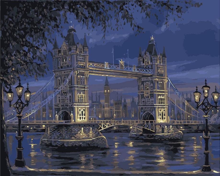 Картина по номерам «Лондонский мост» Роберта ФайнэлаЦветной (Standart)<br><br><br>Артикул: GX7846_Z<br>Основа: Холст<br>Сложность: средние<br>Размер: 40x50 см<br>Количество цветов: 25<br>Техника рисования: Без смешивания красок