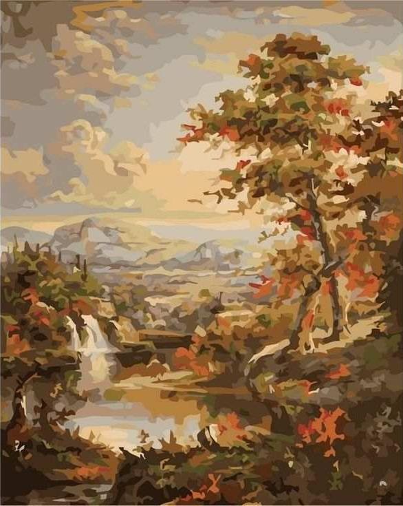Картина по номерам «Дерево у водопада»Цветной (Standart)<br><br><br>Артикул: GX7894_Z<br>Основа: Холст<br>Сложность: сложные<br>Размер: 40x50 см<br>Количество цветов: 25<br>Техника рисования: Без смешивания красок