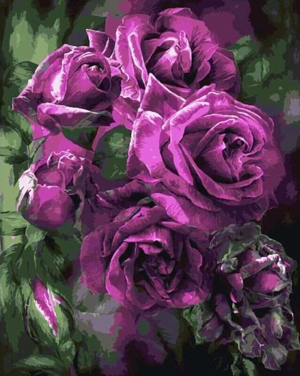 Картина по номерам «Лиловые розы» Кэрол КаваларисPaintboy (Premium)<br><br><br>Артикул: GX7922<br>Основа: Холст<br>Сложность: сложные<br>Размер: 40x50 см<br>Количество цветов: 25<br>Техника рисования: Без смешивания красок