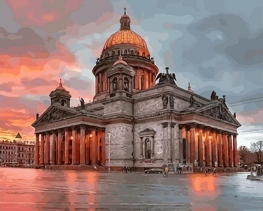 «Утренний Санкт-Петербург»Раскраски по номерам Paintboy (Original)<br><br><br>Артикул: GX7966_R<br>Основа: Холст<br>Сложность: средние<br>Размер: 40x50 см<br>Количество цветов: 26
