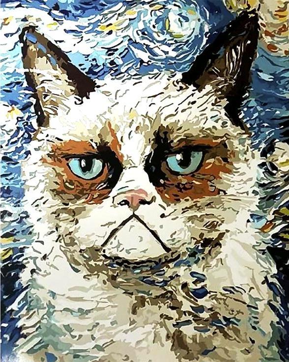 Картина по номерам «Грампи Кэт»Раскраски по номерам Paintboy (Original)<br><br><br>Артикул: GX8093_R<br>Основа: Холст<br>Сложность: сложные<br>Размер: 40x50 см<br>Количество цветов: 25<br>Техника рисования: Без смешивания красок
