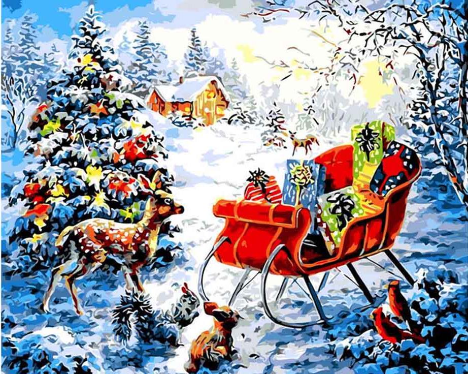 Картина по номерам «Ночь перед Рождеством» Ники БоэмЦветной (Standart)<br><br><br>Артикул: GX8108_Z<br>Основа: Холст<br>Сложность: сложные<br>Размер: 40x50 см<br>Количество цветов: 25<br>Техника рисования: Без смешивания красок