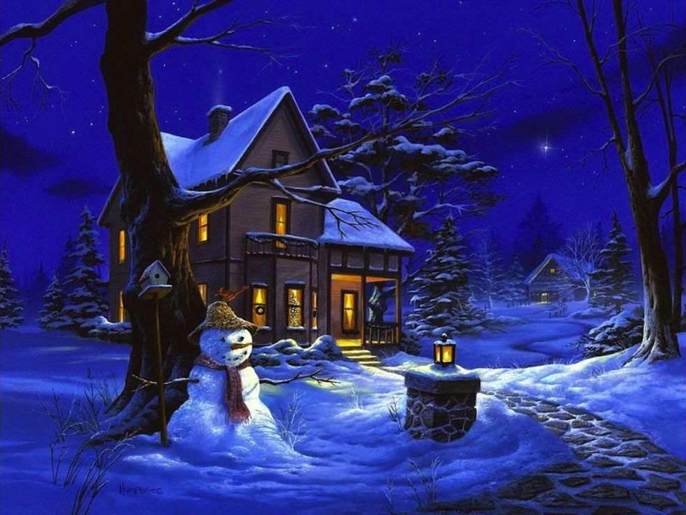 «Однажды зимней ночью» Майкла ХэмпфриЦветной (Standart)<br><br><br>Артикул: GX8109_Z<br>Основа: Холст<br>Сложность: сложные<br>Размер: 40x50 см<br>Количество цветов: 25<br>Техника рисования: Без смешивания красок