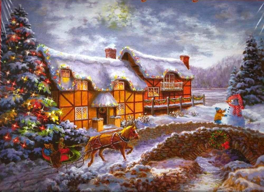 «Домой на Рождество» Ники БоэмЦветной (Standart)<br><br><br>Артикул: GX8110_Z<br>Основа: Холст<br>Сложность: сложные<br>Размер: 40x50 см<br>Количество цветов: 25<br>Техника рисования: Без смешивания красок