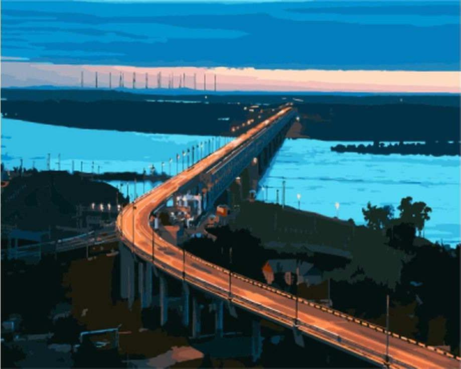 «Хабаровский мост»Цветной (Standart)<br><br><br>Артикул: GX8179_Z<br>Основа: Холст<br>Сложность: сложные<br>Размер: 40x50 см<br>Количество цветов: 25<br>Техника рисования: Без смешивания красок