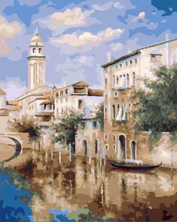 «Венеция летом» Светланы ГрохотовойЦветной (Standart)<br><br><br>Артикул: GX8202_Z<br>Основа: Холст<br>Сложность: сложные<br>Размер: 40x50 см<br>Количество цветов: 25<br>Техника рисования: Без смешивания красок