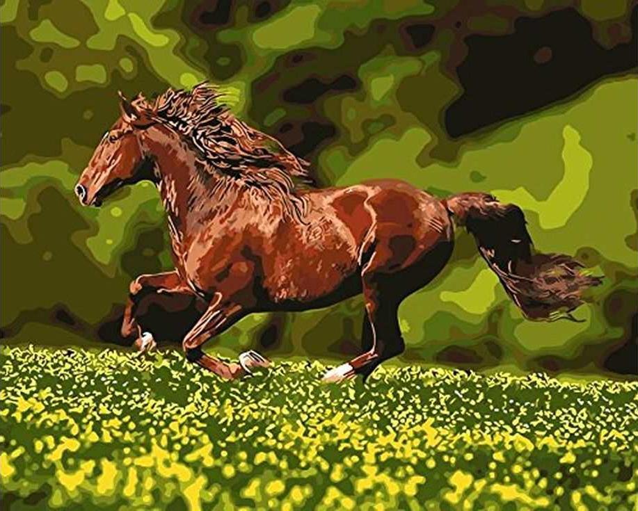 «Скачущий конь»Paintboy (Premium)<br><br><br>Артикул: GX8814<br>Основа: Холст<br>Сложность: средние<br>Размер: 40x50 см<br>Количество цветов: 23<br>Техника рисования: Без смешивания красок