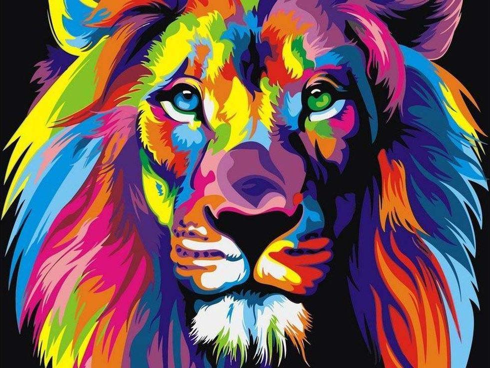 Картина по номерам «Радужный лев» Ваю РомдониPaintboy (Premium)<br><br><br>Артикул: GX8999<br>Основа: Холст<br>Сложность: легкие<br>Размер: 40x50 см<br>Количество цветов: 19