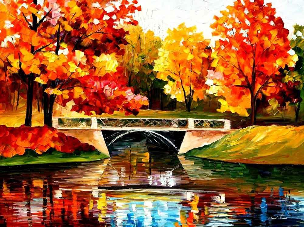 Картина по номерам «Осенний мостик» Леонида АфремоваPaintboy (Premium)<br><br><br>Артикул: GX9127<br>Основа: Холст<br>Сложность: средние<br>Размер: 40x50 см<br>Количество цветов: 24<br>Техника рисования: Без смешивания красок