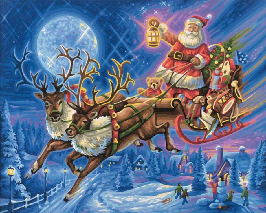 Картина по номерам «Дед Мороз на оленях»Paintboy (Premium)<br><br><br>Артикул: GX9208<br>Основа: Холст<br>Сложность: сложные<br>Размер: 40x50 см<br>Количество цветов: 25<br>Техника рисования: Без смешивания красок