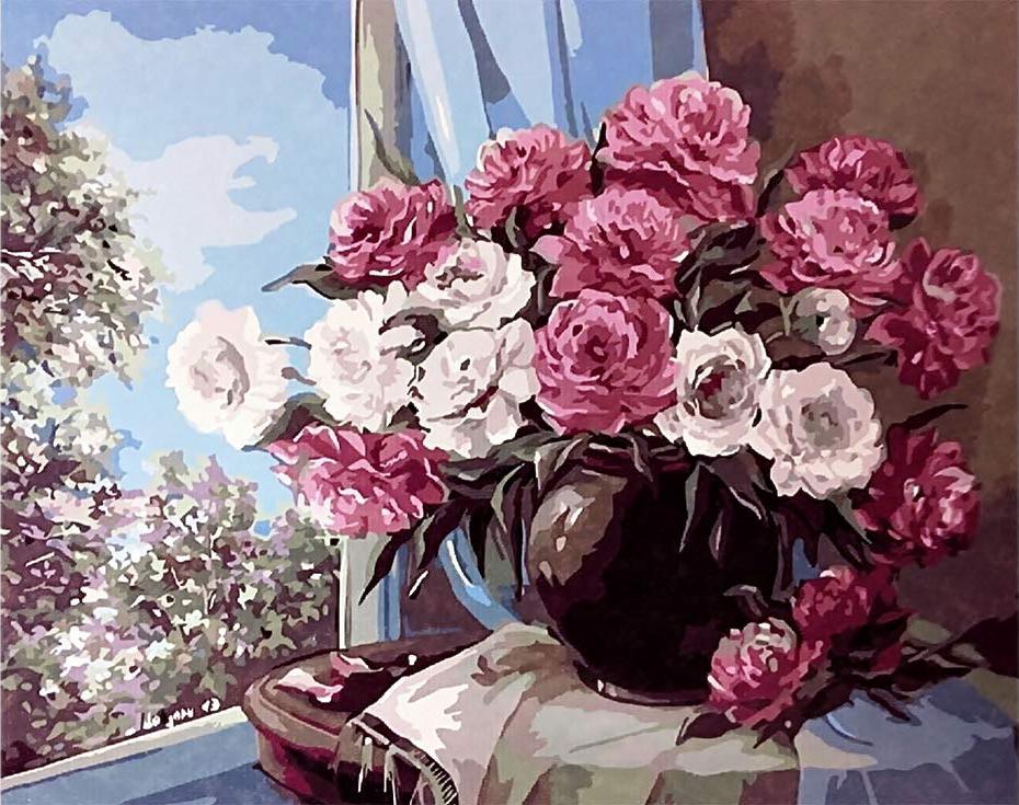 Картина по номерам «Цветочный натюрморт» Анки БулгаруPaintboy (Premium)<br><br><br>Артикул: GX9406<br>Основа: Холст<br>Сложность: средние<br>Размер: 40x50 см<br>Количество цветов: 25