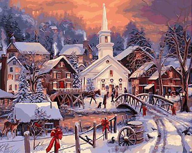 «Рождество в деревне» Чака ПинсонаЦветной (Standart)<br><br><br>Артикул: GX9743_Z<br>Основа: Холст<br>Сложность: сложные<br>Размер: 40x50 см<br>Количество цветов: 25<br>Техника рисования: Без смешивания красок