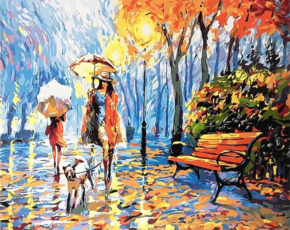 «Прогулка под дождем»Раскраски по номерам Paintboy (Original)<br><br><br>Артикул: GX9976_R<br>Основа: Холст<br>Сложность: средние<br>Размер: 40x50 см<br>Количество цветов: 24<br>Техника рисования: Без смешивания красок