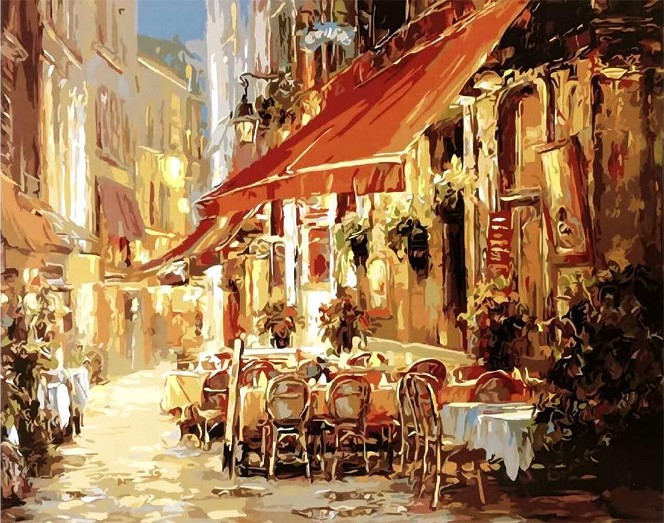 Картина по номерам «Кафе в свете фонарей» Haixia LiuРаскраски по номерам<br><br>