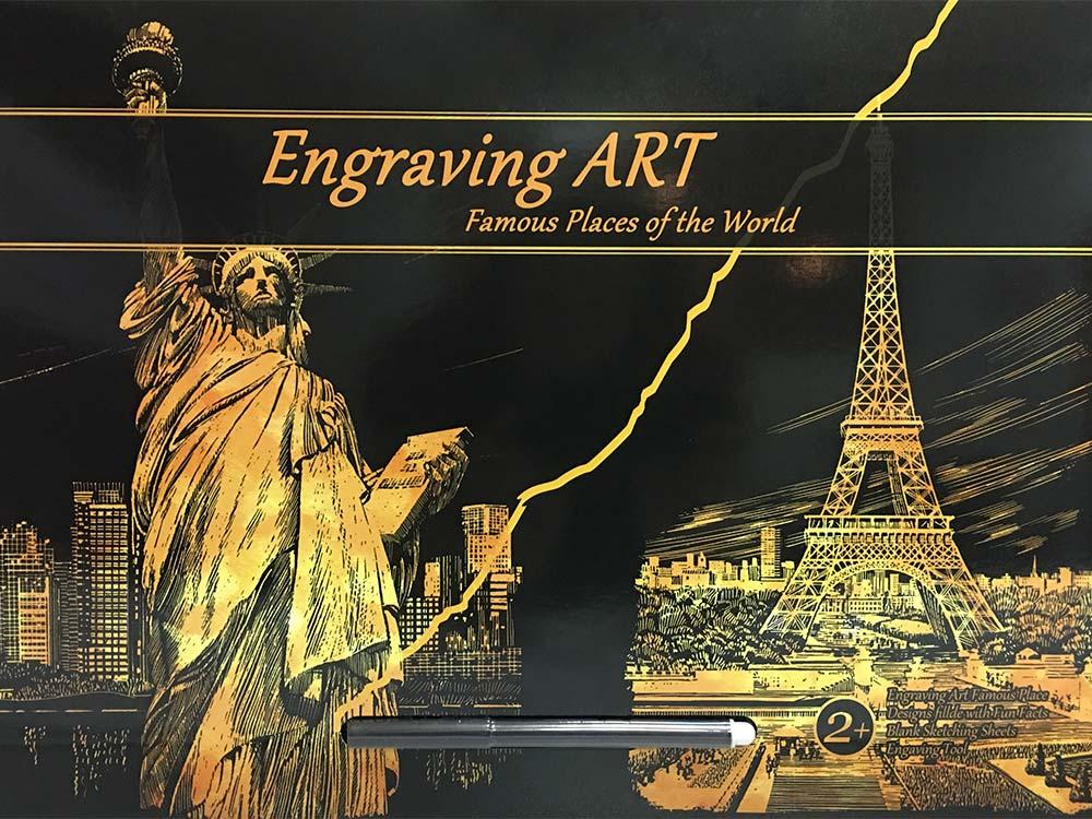 Скретч-набор «Статуя Свободы и Эйфелева башня»Раскраски в стиле граттаж (Скретч-картины)<br>Набор упакован в папку-конверт:<br> -  два скретч-листа: один с изображением Статуи Свободы, второй с изображением Эйфелевой башни;<br> -  специальный стилус для «сцарапывания» или «стирания» покрытия;<br> -  чистый скретч-лист (формат открытки) для создания св...<br><br>Артикул: LIBERTY-EIFEL<br>Сложность: средние<br>Размер: 41x29 см