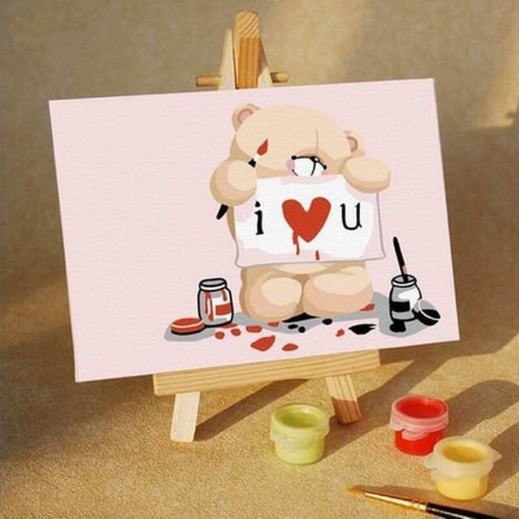 Картина по номерам «С любовью»Цветной (Standart)<br><br><br>Артикул: MA023_Z<br>Основа: Картон<br>Сложность: средние<br>Размер: 10x15 см<br>Количество цветов: 10<br>Техника рисования: Без смешивания красок