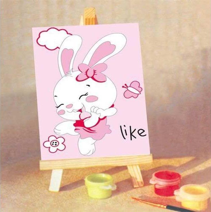 «Зайка»Цветной (Standart)<br><br><br>Артикул: MA084_Z<br>Основа: Картон<br>Сложность: средние<br>Размер: 10x15 см<br>Количество цветов: 10<br>Техника рисования: Без смешивания красок