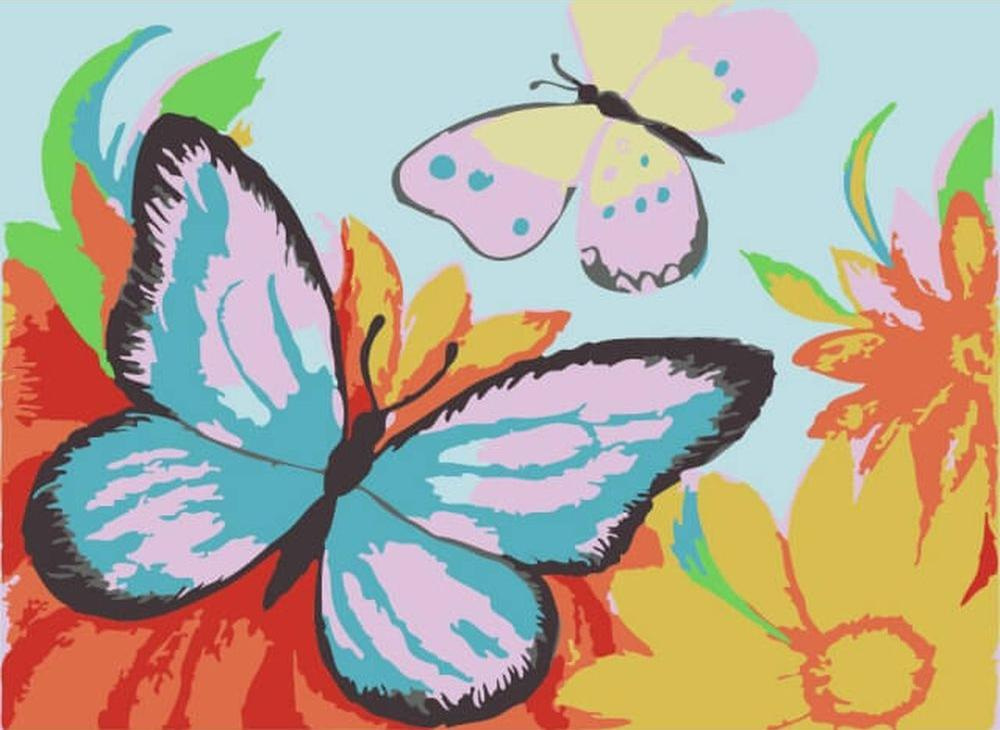 Картина по номерам «Разноцветные бабочки»Цветной (Premium)<br><br><br>Артикул: MA1002_Z<br>Основа: Картон<br>Сложность: очень легкие<br>Размер: 10x15 см<br>Количество цветов: 8-10<br>Техника рисования: Без смешивания красок