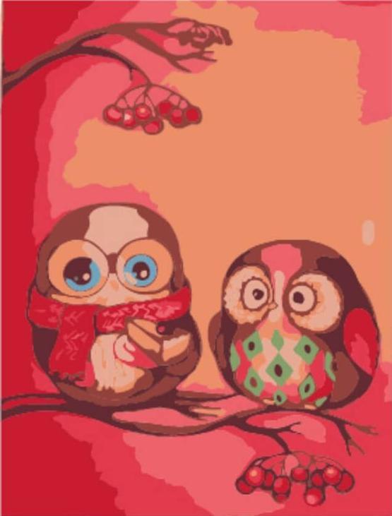 Картина по номерам «Две совы»Цветной (Premium)<br><br><br>Артикул: MA1008_Z<br>Основа: Картон<br>Сложность: очень легкие<br>Размер: 10x15 см<br>Количество цветов: 8-10<br>Техника рисования: Без смешивания красок