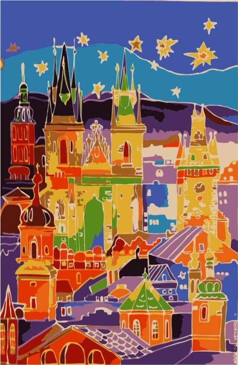 «Разноцветная Прага»Цветной (Premium)<br><br><br>Артикул: MC1034_Z<br>Основа: Холст<br>Сложность: средние<br>Размер: 20x30 см<br>Количество цветов: 10<br>Техника рисования: Без смешивания красок