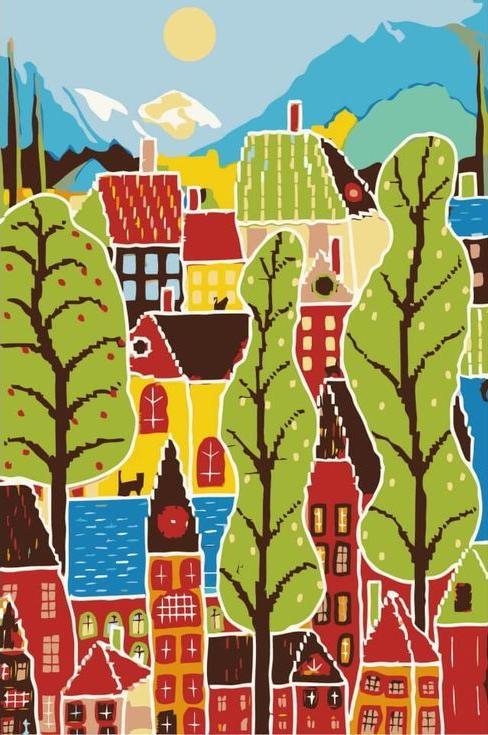 Картина по номерам «Летние домики»Цветной (Premium)<br><br><br>Артикул: MC1035_Z<br>Основа: Холст<br>Сложность: средние<br>Размер: 20x30 см<br>Количество цветов: 10<br>Техника рисования: Без смешивания красок