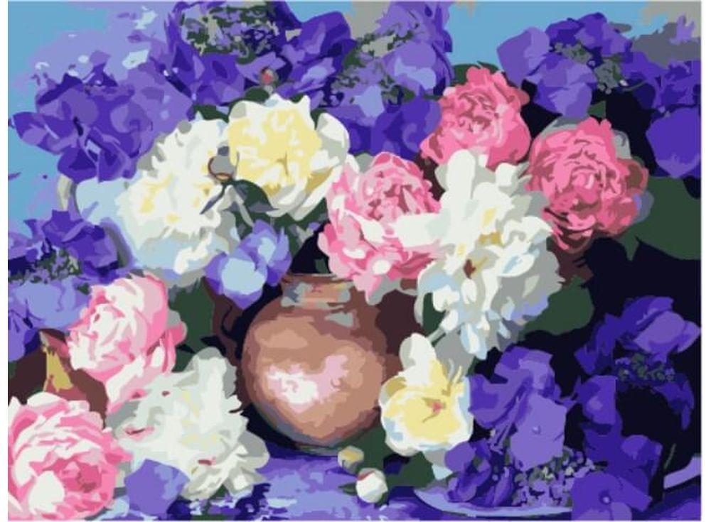 Картина по номерам «Пышноцветье»Цветной (Premium)<br><br><br>Артикул: ME1022_Z<br>Основа: Цветной холст<br>Сложность: сложные<br>Размер: 30x40 см<br>Количество цветов: 25<br>Техника рисования: Без смешивания красок