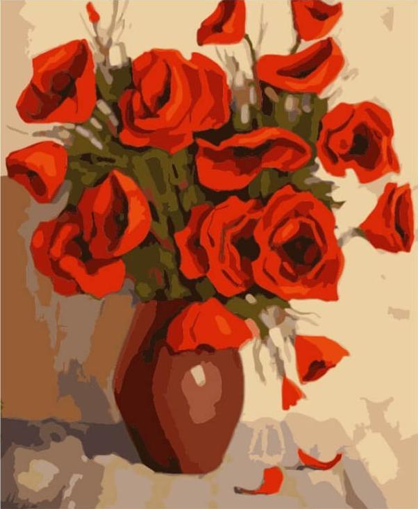 «Маки в глиняной вазе»Цветной (Premium)<br><br><br>Артикул: ME1023_Z<br>Основа: Цветной холст<br>Сложность: сложные<br>Размер: 30x40 см<br>Количество цветов: 25<br>Техника рисования: Без смешивания красок