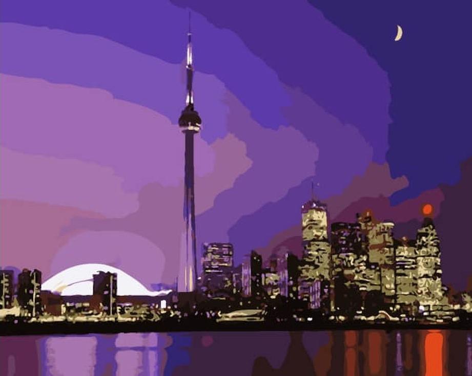 «Закат над городом»Цветной (Premium)<br><br><br>Артикул: MG2037_Z<br>Основа: Цветной холст<br>Сложность: сложные<br>Размер: 40x50 см<br>Количество цветов: 25<br>Техника рисования: Без смешивания красок