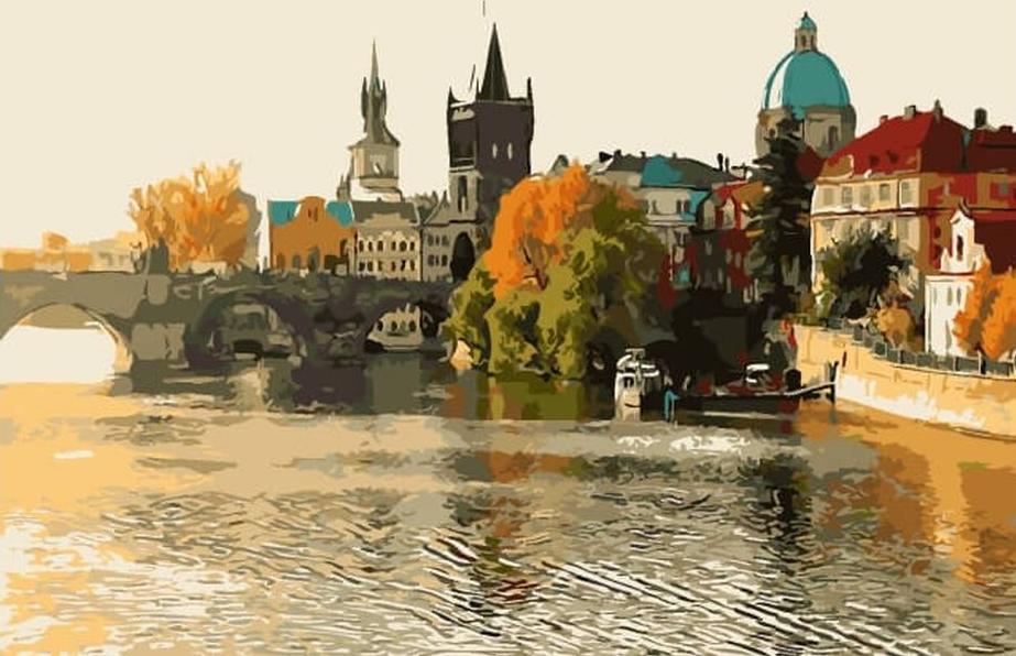 «Осень в Праге»Цветной (Premium)<br><br><br>Артикул: MG2038_Z<br>Основа: Цветной холст<br>Сложность: сложные<br>Размер: 40x50 см<br>Количество цветов: 25<br>Техника рисования: Без смешивания красок
