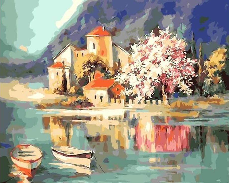 Картина по номерам «Весна у реки» Людмилы ГрозыРаскраски по номерам Menglei (Standart)<br><br><br>Артикул: MG2040_S<br>Основа: Холст<br>Сложность: сложные<br>Размер: 40x50 см<br>Количество цветов: 25<br>Техника рисования: Без смешивания красок