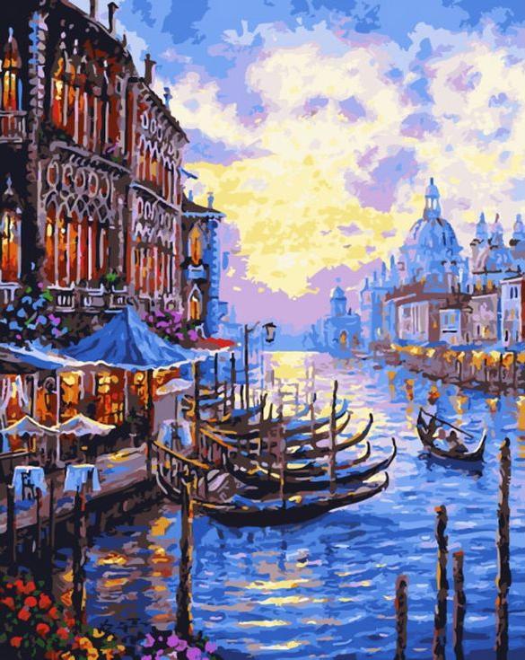 Картина по номерам «Гранд-канал в Венеции» Роберта ФайнэлаMenglei (Premium)<br><br><br>Артикул: MG694<br>Основа: Холст<br>Сложность: сложные<br>Размер: 40x50 см<br>Количество цветов: 26<br>Техника рисования: Без смешивания красок