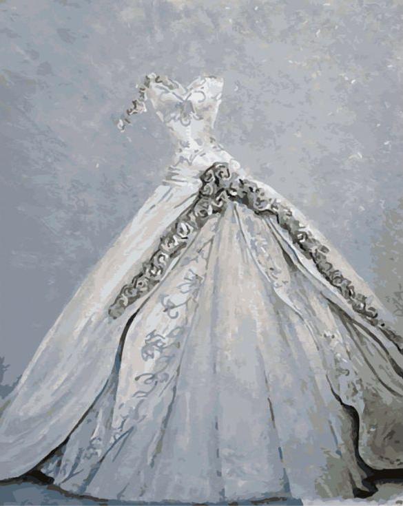 Картина по номерам «Свадебное платье»Menglei (Premium)<br><br><br>Артикул: MG707<br>Основа: Холст<br>Сложность: сложные<br>Размер: 40x50 см<br>Количество цветов: 20<br>Техника рисования: Без смешивания красок