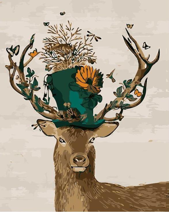 «Олень - безумный шляпник»Menglei (Premium)<br><br><br>Артикул: MG709<br>Основа: Холст<br>Сложность: сложные<br>Размер: 40x50 см<br>Количество цветов: 22<br>Техника рисования: Без смешивания красок