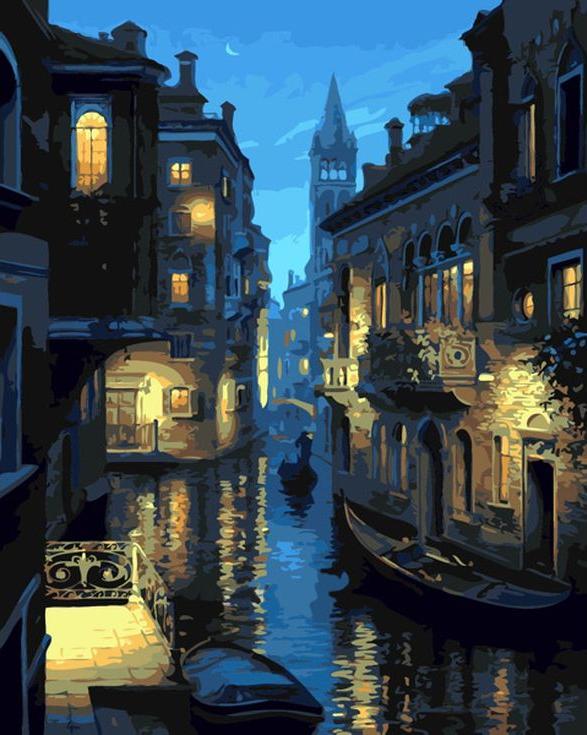Картина по номерам «Венеция в лунном свете» Евгения ЛушпинаMenglei (Premium)<br><br><br>Артикул: MG738<br>Основа: Холст<br>Сложность: сложные<br>Размер: 40x50 см<br>Количество цветов: 21<br>Техника рисования: Без смешивания красок