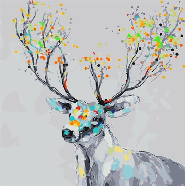 Картина по номерам «Изящный олень»Menglei (Premium)<br><br><br>Артикул: MG747<br>Основа: Холст<br>Сложность: сложные<br>Размер: 40x50 см<br>Количество цветов: 20<br>Техника рисования: Без смешивания красок