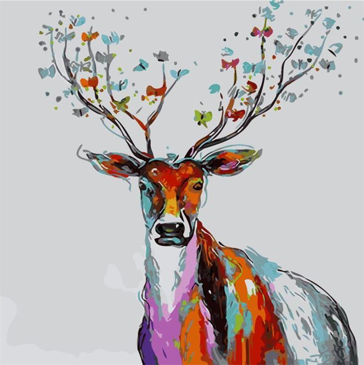 «Волшебный олень»Menglei (Premium)<br><br><br>Артикул: MG748<br>Основа: Холст<br>Сложность: сложные<br>Размер: 40x50<br>Количество цветов: 24<br>Техника рисования: Без смешивания красок